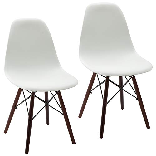 Phoenix Home Kenitra Contemporary Side Chair with Walnut-Wood Legs, Snow White, Set of 2