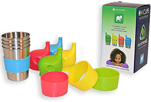 Eco Safe BPA Free Drinking Set 4pc - 8oz Boys, Ecotrendz Stainless Steel Cups /& Silicone Sippy Lids with Sleeves for Kids Toddlers Baby Girls