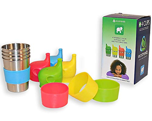 Ecotrendz Stainless Steel Cups & Silicone Sippy Lids with Sleeves for Kids Toddlers Baby Girls, Boys, (4pc - 8oz) Eco Safe BPA Free Drinking Set