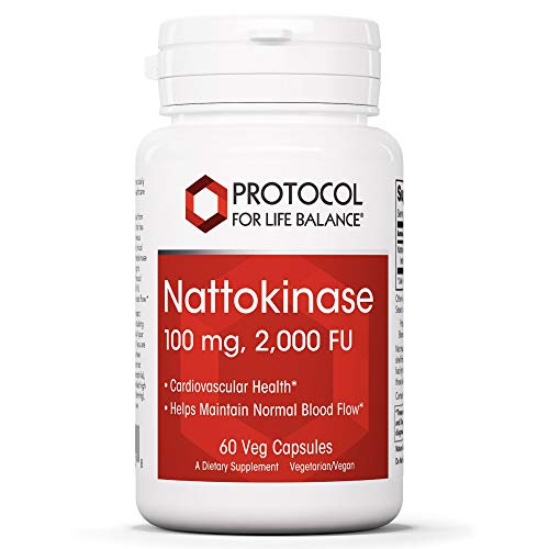 Protocol For Life Balance - Nattokinase 100 mg - 2,000 Fibrinolytic Units of Enzyme Activity to Support Heart Health, Circulation, Normal Blood Flow, Enhanced Formula Supplement - 60 Veg Capsules