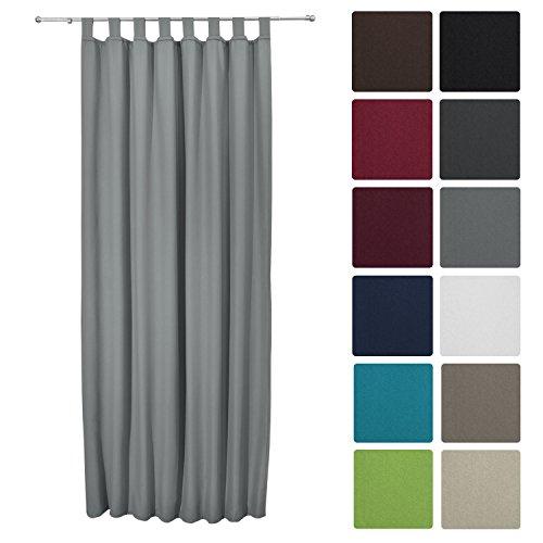 Beautissu® Thermovorhang Amelie 140x245 cm Schlaufen-Schal Vorhang blickdicht & Verdunkelung - isolierende Gardine Grau