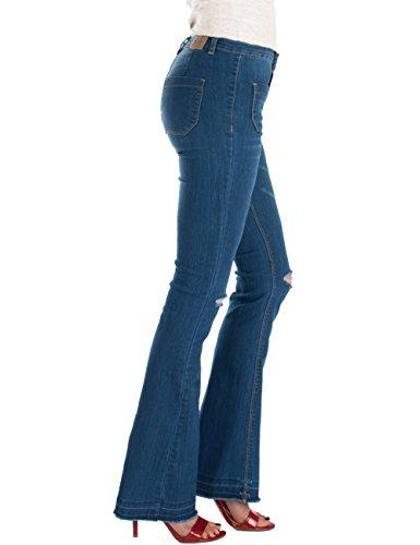 Azul corte cut bota knee Pantalones mujer Fraternel Vaqueros x4wpqg1U0