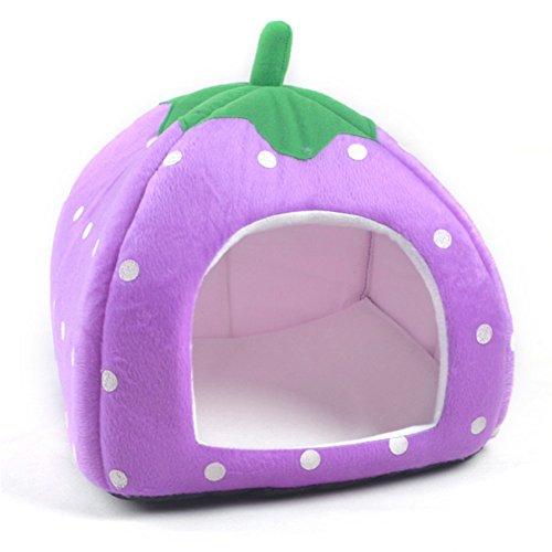 Vedem Pet Portable Strawberry Fleece House Bed for Dog/Cat/Rabbit/Hamster/Guinea-pigs (S, PURPLE)