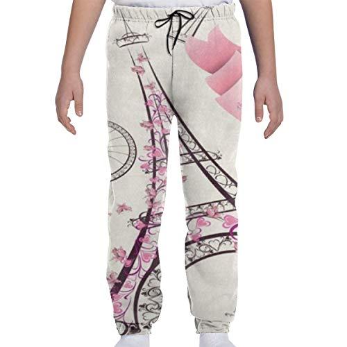 DHIAJSA Youth 3D Paris Eiffel Tower Joggers Pants Trousers Sport Track Sweatpants Baggy