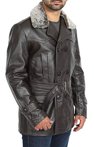 A1 FASHION GOODS Mens Brown Leather Trench Coat Waist Belt Military Double Breasted Jacket - Admiral (X-Large)