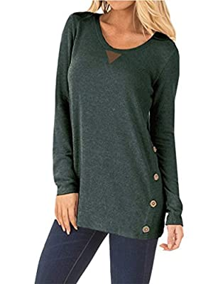 OURS Womens Casual Long Sleeve Elbow Patch Loose Tunic Button Blouses Shirt Tops