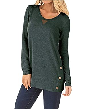Womens Casual Long Sleeve Elbow Patch Loose Tunic Button Blouses Shirt Tops