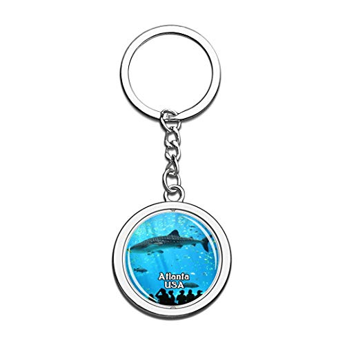 USA United States Keychain Georgia Aquarium Atlanta Key Chain 3D Crystal Spinning Round Stainless Steel Keychains Travel City Souvenirs Key Chain Ring -