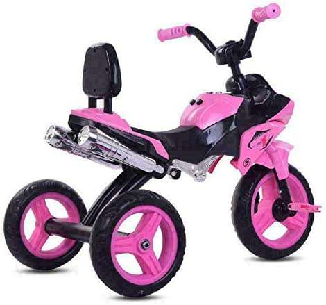 K-D Kids Trikes Suitable for kids over 18 months motorbike design,Children Trikes with lights and Music buttons 3 Wheels Pedal Buggy Blue