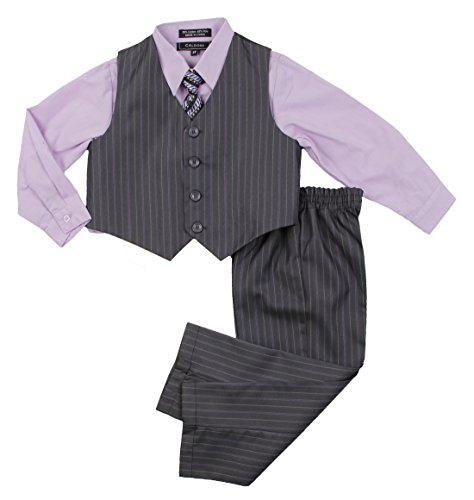 [Little Boys Dressy Formal Vest Shirt Pant and Tie Set Outfit By Caldore (24M, Lilac)] (Fifties Outfit)