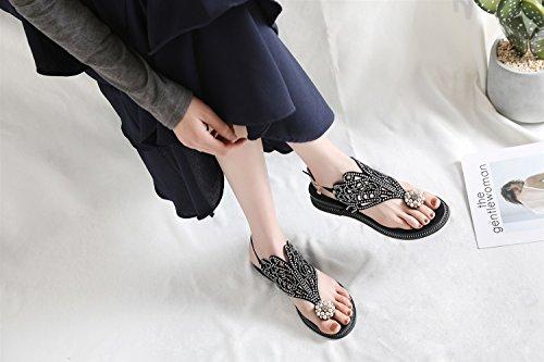 Toe Aurora Amerikanischen Fairy Clip Stil Clip Sandalen Weibliche XIAOQI Schuhe und Rom Europäischen Sommer Schwarz Slip Strass Keile vfqRRn