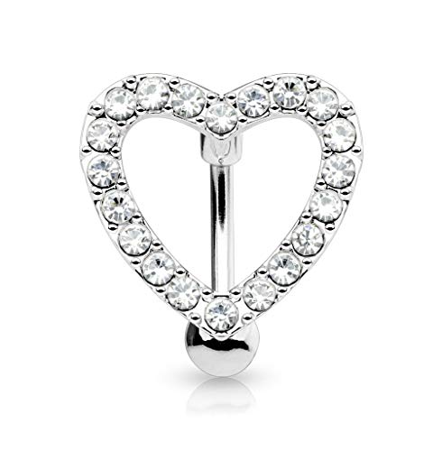 (Forbidden Body Jewelry Pave CZ Crystal Heart Surgical Steel Reverse Hinged Top Down Belly Ring)