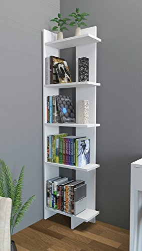 18' Bookcase (Decorotika Alice 5-Tier Corner Bookcase Bookshelf White)