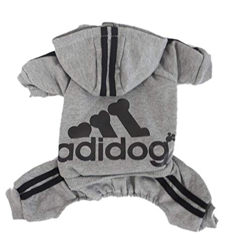 Scheppend Adidog Pet Clothes for Dog Cat Puppy Hoodies Coat Winter Sweatshirt Warm Sweater Dog Outfits, Grey Small