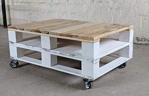 Mesa de palets de madera con ruedas – Mesita Auxiliar & Centro hecha con madera de pallets para Salon & Jardin, terraza, DIY - Estilo rustico, ...
