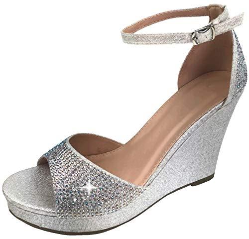 Harper Shoes Women's Open Toe Crystal Rhinestone Ankle Strap Wedge High Heel Dress Sandal, Silver, 8.5