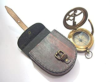 Brass Push Button Compass Antique Finish Sundial Compass With Leather Box Antiques Maritime Compasses
