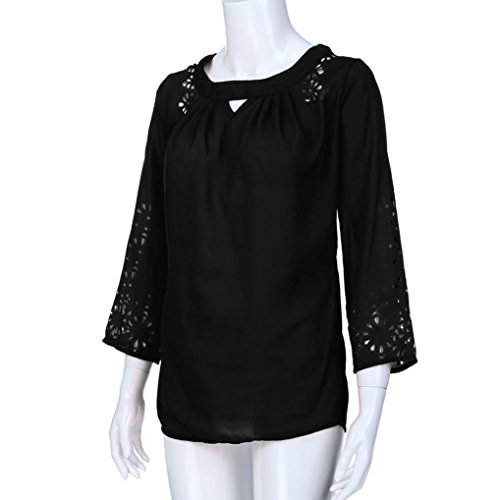 en Femmes Shirt Soie T 4 Solide Mousseline T Et Noir Manche Printemps Tops de 3 Shirt Chemisier Blouse en Blouse Fluide Guesspower qCgfE