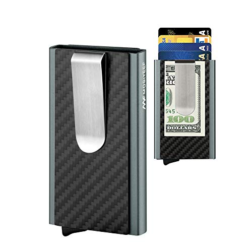 Mosiyeef RFID Blocking Aluminum Card Wallet Genuine True Carbon Fiber Stainless Bill Money Clip Automatic Pop-Up Card Holder Front Pocket Minimalist Credit Card Id Card Smart Card Case Keeper,gray
