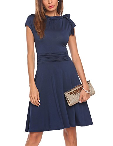 SE MIU Women Cap Sleeve Round Neck Ruched Waist Slimming Swing Midi Cocktail (Ruched Empire Cocktail)