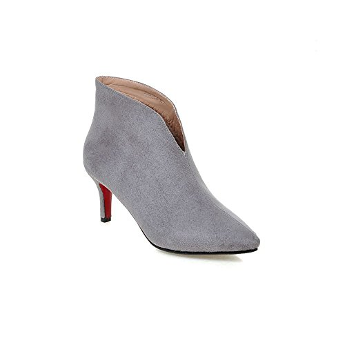 Ankle Boots Pointed Grey Kitten Heel Toe Lucksender Womens Sexy YwC0qO