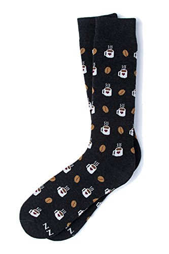 er But First, Coffee & Beans Novelty Crew Dress Socks (Black) ()