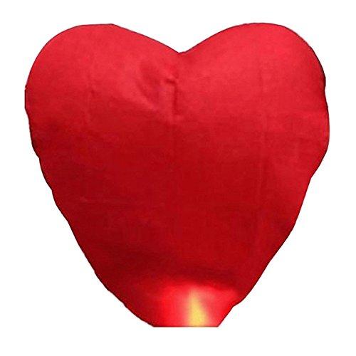 Pixnor 10Pezzi in forma di cuore rosso volanti lanterne célestes, cinese tradizionale battente lanterne rougeoyants