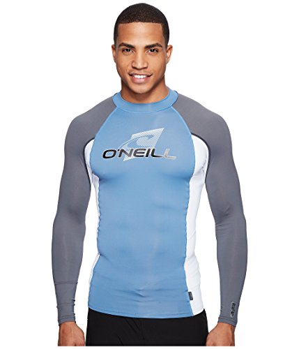 O'Neill Wetsuits UV Sun Protection Mens Skins Long Sleeve Crew Sun Shirt Rash Guard,  Blue/White/Graphite,  Small ()