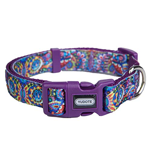 "Nylon Dog Collar Spring Scent Fresh Flower Pattern Printing on Premium Ribbon,Comfy and Durable Collar for Puppies or Heavy Duty Dogs,Purple,Neck 8""-12,5"""