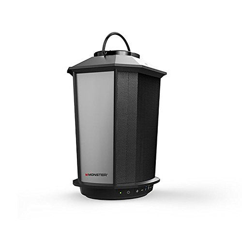 Monster GLO Outdoor Multi - Color Lantern Speaker - Expand up to 8 Speakers (EZ-Play), Water Resistant Portable Wireless Bluetooth Speaker (Wall Mount Included) - Black