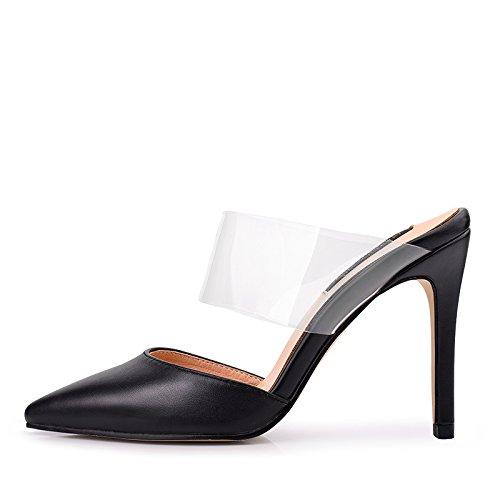 Vivioo Talons Hauts Sandales Avec Des Chaussures À Talons Hauts Xia Romano Hauts Talons Rétro Nettes Avec 9.11cm Mince De Ceinture Noir Transparent
