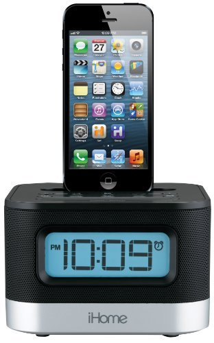 iHome iPL10 Dual Charging Stereo FM Clock Radio with Lightning Dock For iPod, iPhone 5/5C/5S, 6/6s, and 6/6s Plus