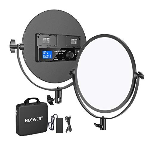 Neewer Metal 10.6 inches Round Bi-Color LED Video Light, Dimmable 30W 3200-5600K CRI95+ LED Soft Light Panel with LCD Display/AC Adapter for Photo YouTube Video Game Zoom Meeting(Battery Not Included)