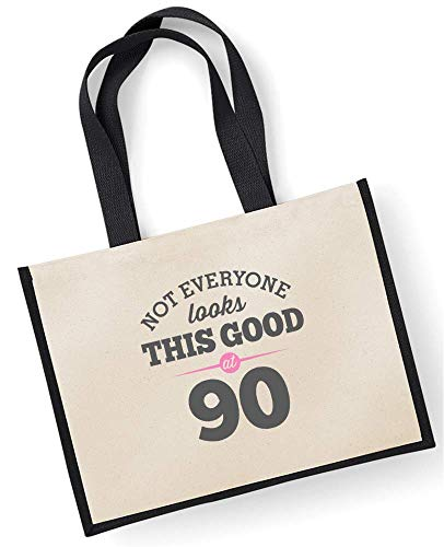 90th Birthday, Gift, Keepsake, Funny Gift, Gifts For Women, Novelty Gift, Ladies Gifts, Female Birthday Gift, Looking Good Gift, Ladies, Shopping Bag, Present, Tote Bag, Gift Idea (Green) Black