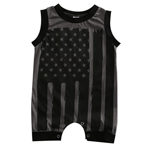 24 Star Flag (Cute Baby Boy Girl Patriotic 4th July Flag Stars Stripes Romper Clothes Outfit (24 Months, Gray))