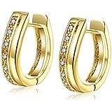 New 18K Yellow Gold Plated Korean One Rows Cubic Zirconia Huggie Hoop Earrings
