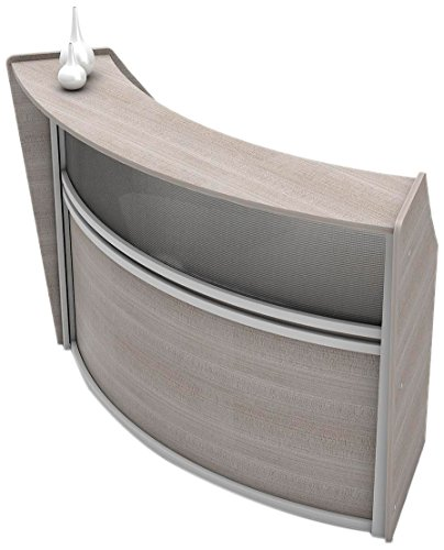 Curved Front Reception - Linea Italia Curved Reception Desk, Single Unit, Clear Panel, Ash Laminate, Modern Office Lobby, Perfect for Small Spaces, Receptionist, Secretary