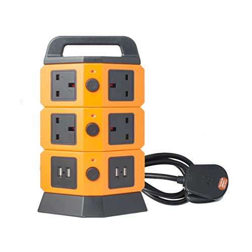 uxcell Surge Protection 7 UK Socket 4 USB Interface 2100mA Tower Power Strip Charger Station 2500W with 6.5ft Extension Cord