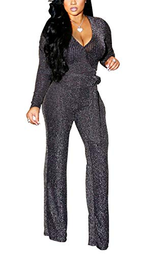 (HannahZone Women's Sexy Sparkly V Neck Long Sleeve Jumpsuits Loose Pants Party Clubwear Onesie with Belt Silver)