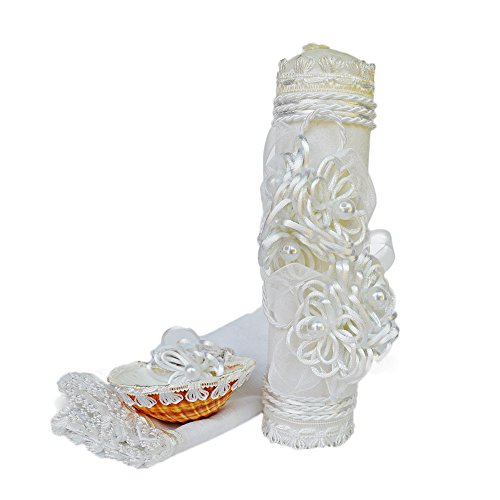 Amazon.com : Handmade Catholic Baptism Kit including Towel, Candle and Shell Kit De Bautizo Religious Gift (Modelo 5, White) : Baby