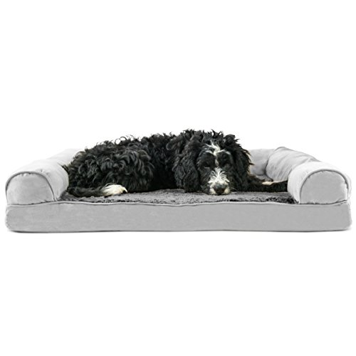 Furhaven Pet Dog Bed | Memory Foam Ultra Plush Faux Fur & Suede Sofa-Style Living Room Couch Pet Bed for Dogs & Cats, Gray, Large