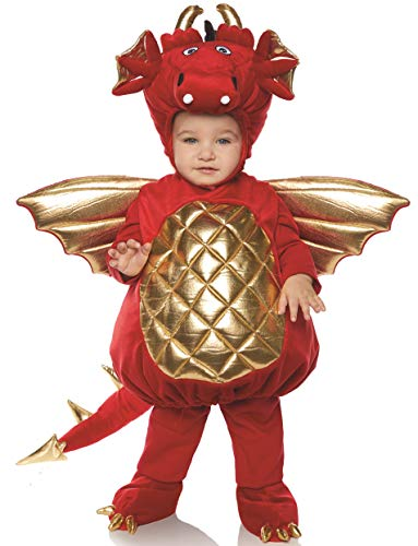 Underwraps Kid's Toddler's Plush Dragon Belly Babies Costume - Red Childrens Costume, red, Large -