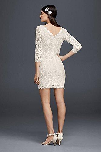 Short 3/4 Sleeved Lace Wedding Dress