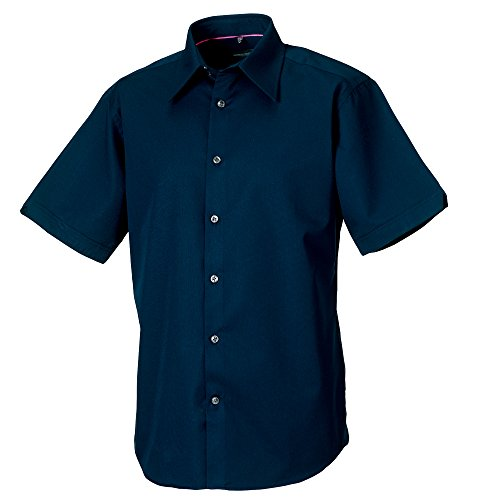 - Russell Collection Mens Short Sleeve Tencel Easy Care Fitted Shirt (L (Collar 16-16.5