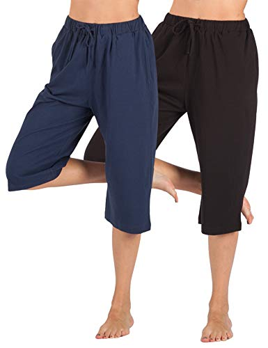 WEWINK CUKOO 100% Cotton Women Pajama Capri Pants Lounge Pants with Pockets Sleepwear (L=US 12-14, Black+ Navy)