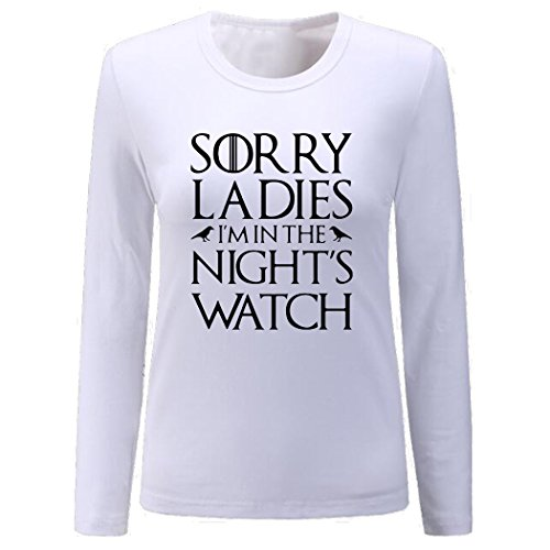 Women's Sorry Ladies I'm In The Night's Watch Long Sleeve Shirt (White,XL)]()