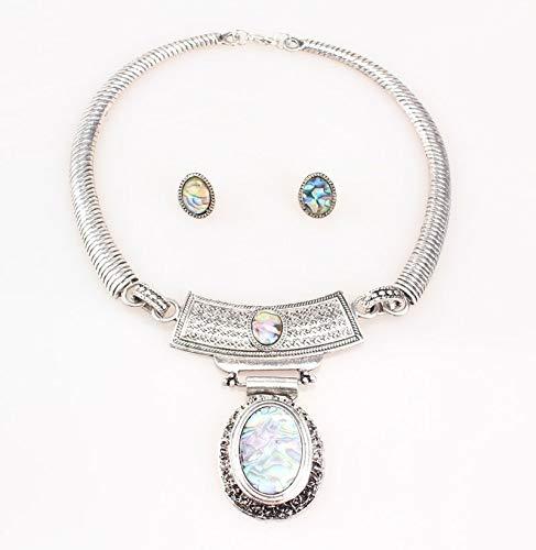 Vintagesets Colorful Necklaces & Pendants | Earrings Sets | Oval Shape/Antique Gold/Silver