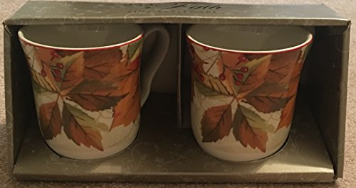 (222 Fifth Porcelain Fine Set of 2 Mugs HARVEST FESTIVAL )