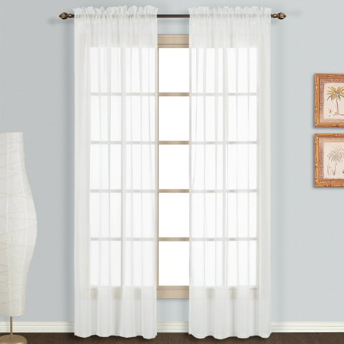United Curtain Monte Carlo Sheer Window Curtain Panel, 59 by 108-Inch, White, Set of 2