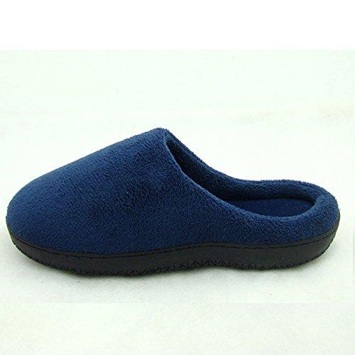 Il cotone pantofole inverno femmina home soggiorno di un paio di spessore indoor anti-slittamento peluche caldo vello uomini xl il ,40-41, scarpe blu scuro